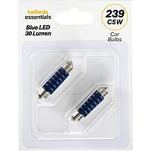 image of 239 Blue LED Car Bulb Halfords Essentials Twin Pack