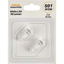 image of 501 White LED Car Bulb Halfords Essentials Twin Pack