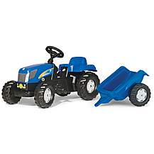 image of Rolly Kid New Holland T7040 Tractor & Trailer Pedal Ride On