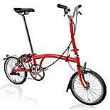 "Brompton H3L Folding Bike - Red - 16"" Wheel"