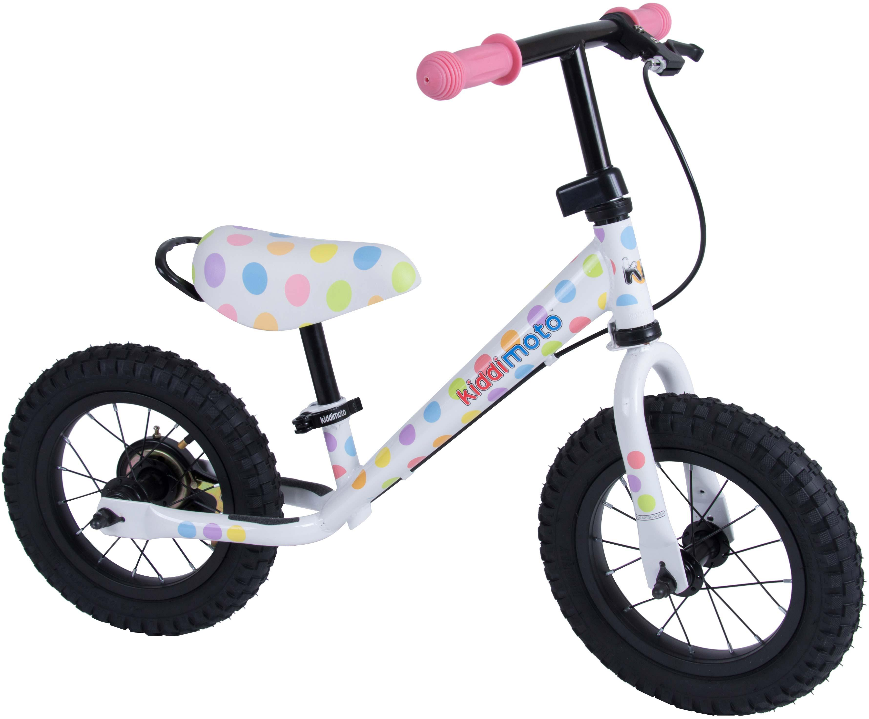 Kiddimoto Super Junior Max Pastel Dotty Balance Bike - 12 inch Wheel