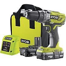 image of Ryobi 18V ONE+ Combi Drill Starter Kit (2x1.3Ah)