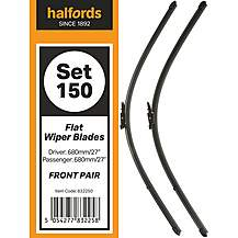 Halfords Flat Wiper Set 150 - Front Pair