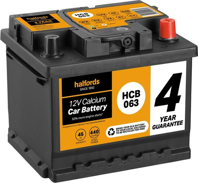 Halfords 4 year guarantee hcb063 calcium 12v car battery