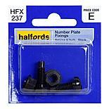 Halfords Number Plate Fixings Black HFX237