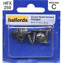 image of Halfords Cross Head Screws Flanged No8x13mm HFX259