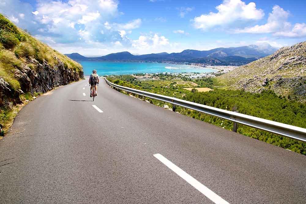 Speeding down a coastal rode in Majorca