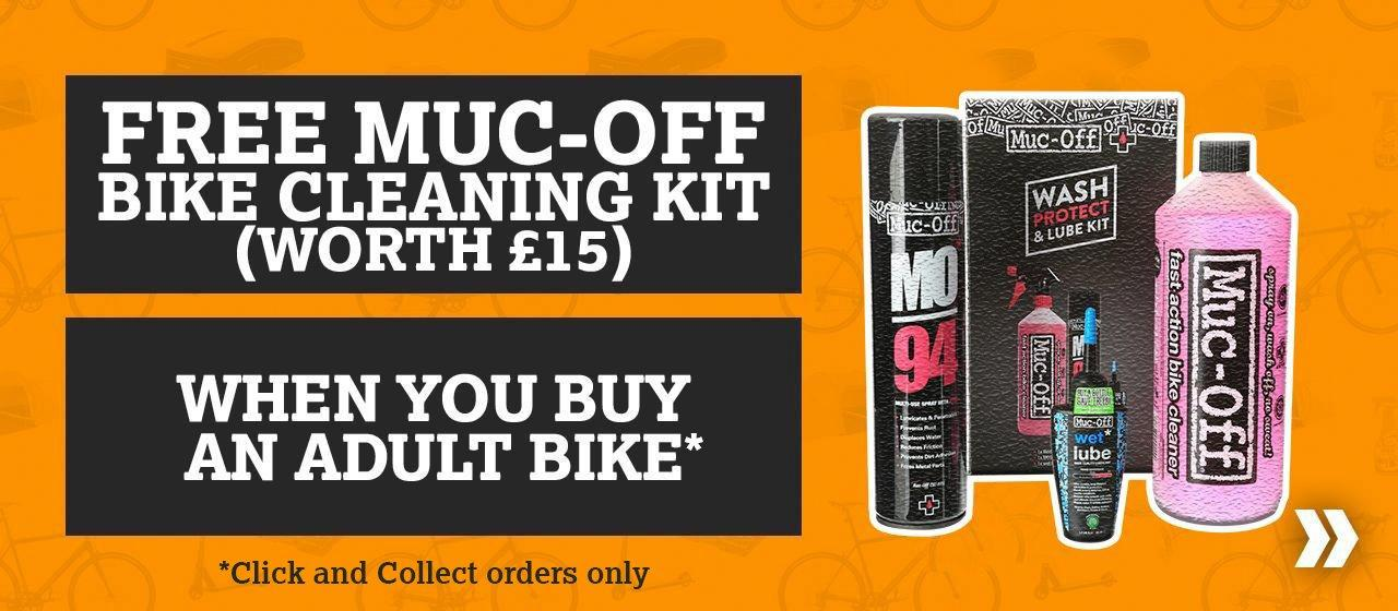 Free Muc Off Cleaning Kit when you buy any adult bike
