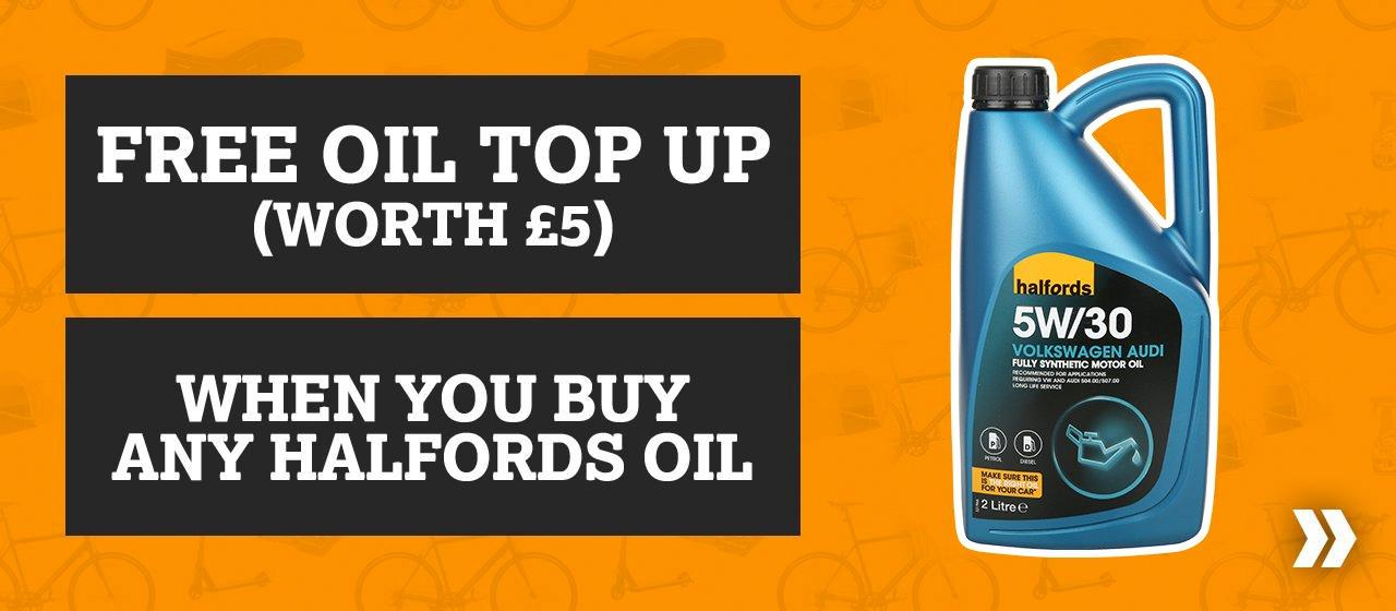 Free Oil Top Up (Worth £5) When You Buy Any Halfords Oil