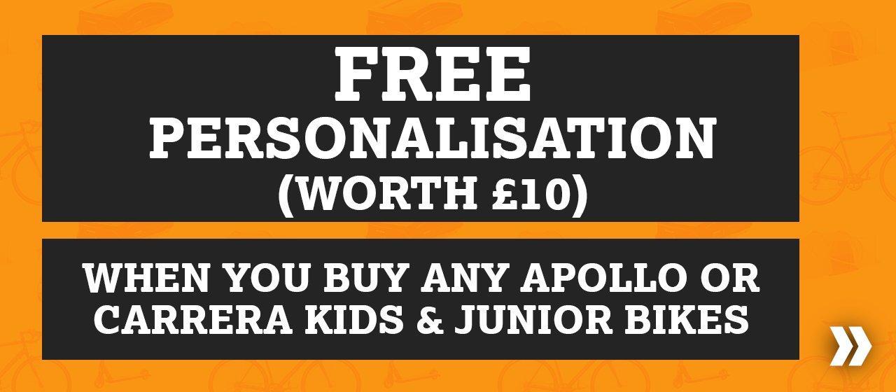 Free personalisation on kids bikes