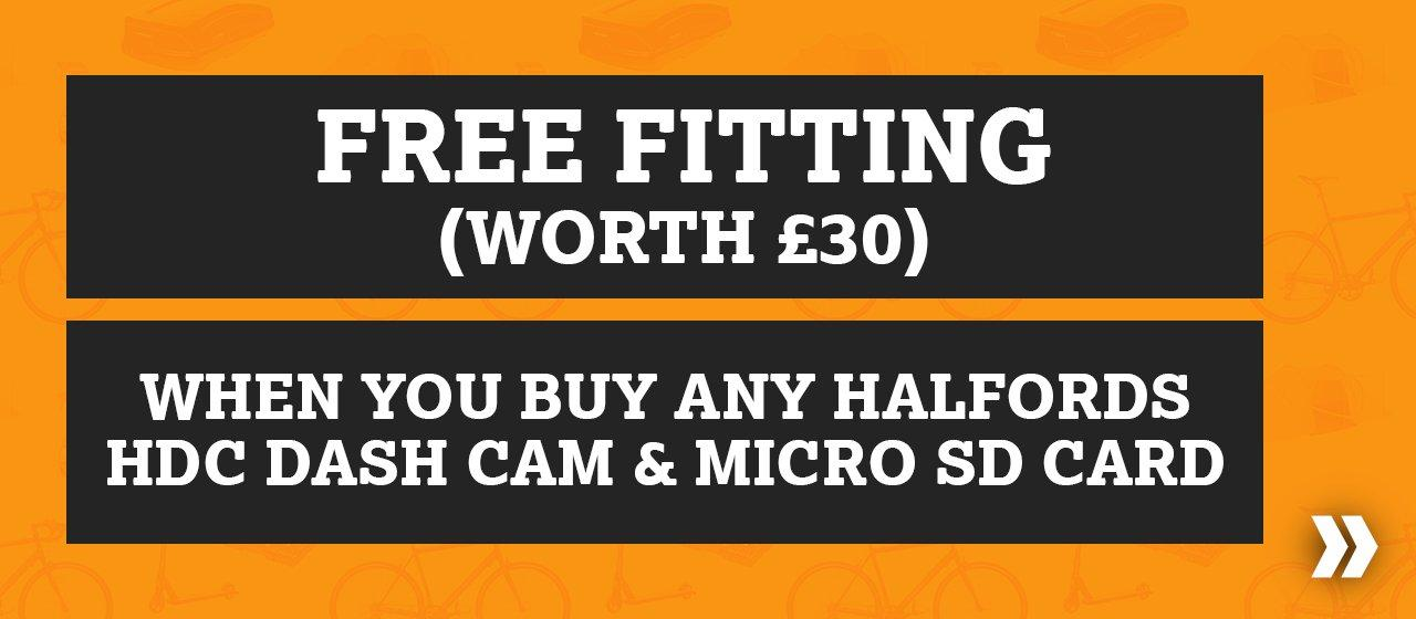 Free Fitting When You Buy Any Halfords HDC Dash Cam & Micro SD Card