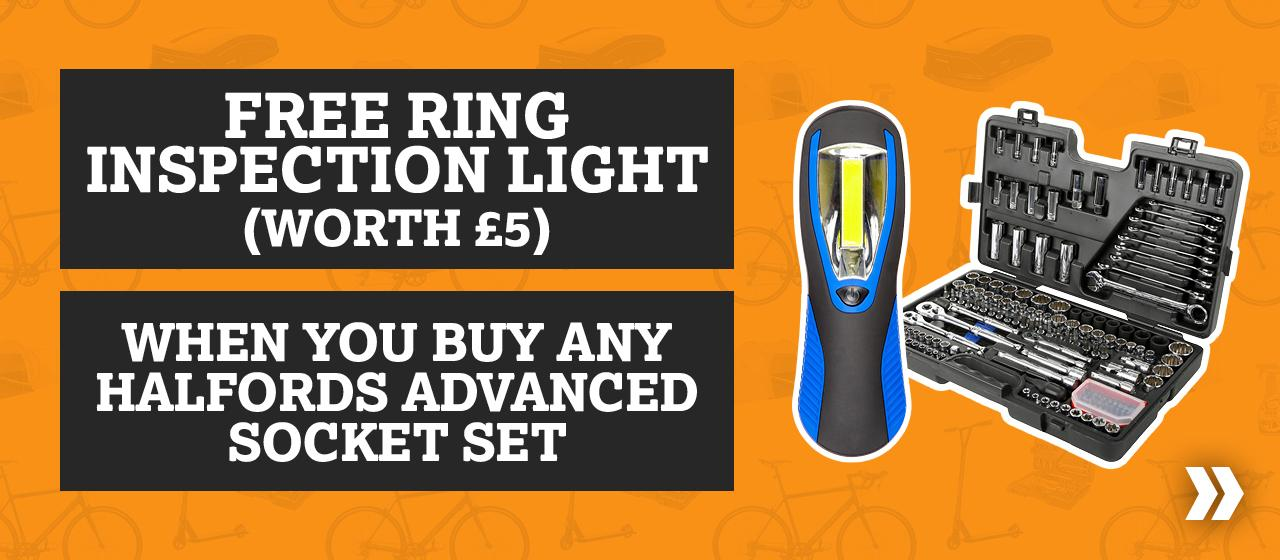 Free Ring Inspection Light When you buy a  Halfords Advanced Socket Sets