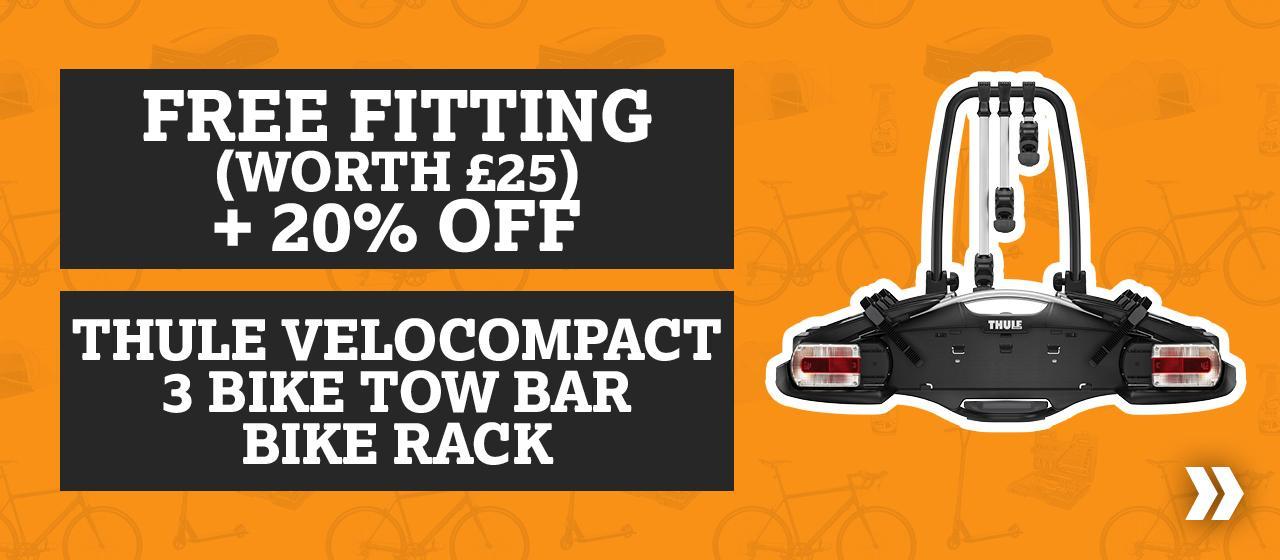 Free Fitting Worth £25 + 20% Off Thule Velocompact 3 Bike Tow Bar Bike Rack