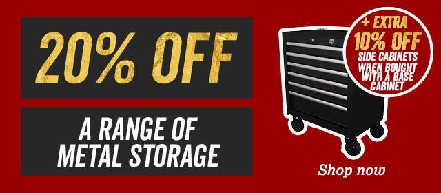20 percent off a range of metal storage