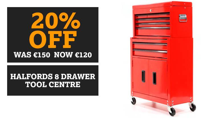 20% off Halfords 8 drawer tool centre WAS €150 NOW €120
