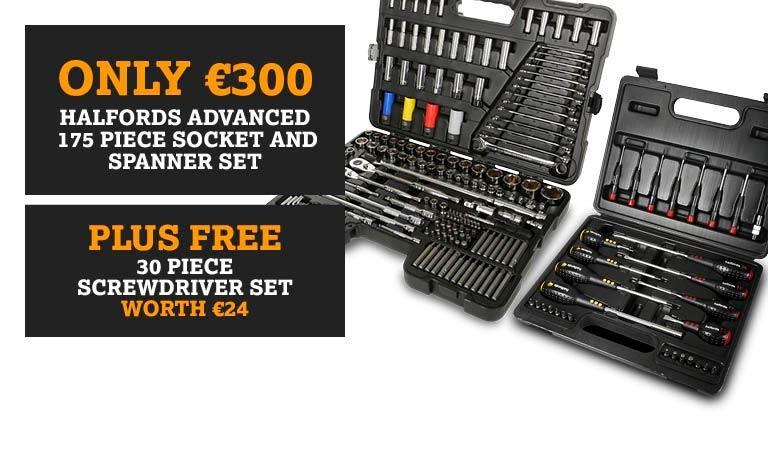 REPEAT - Only €300 Halfords Advanced 175 piece Socket and Spanner set - Plus FREE 30 piece screwdriver set
