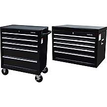 image of Halfords 5 Drawer Cabinet and top chest bundle- Black