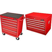 image of Halfords 5 Drawer Cabinet and top chest bundle- Red