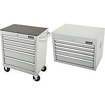 image of Halfords 5 Drawer Cabinet and top chest bundle- Silver