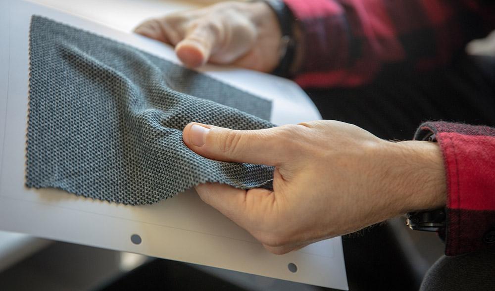 Fabric sample at Morvelo