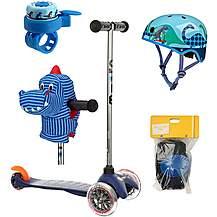 image of Mini Micro Classic Blue And Orange, Helmet, Bell, Dino Head and Pad Set Bundle