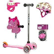 image of Mini Micro Classic Pink And Orange, Helmet, Bell, Horse Head and Pad Set Bundle