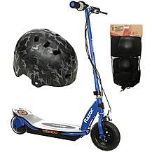 image of Razor Power Core E100 Electric Scooter (Blue), Helmet and Pad Set Bundle
