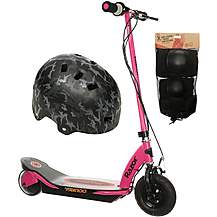 image of Razor Power Core E100 Electric Scooter (Pink), Helmet and Pad Set Bundle