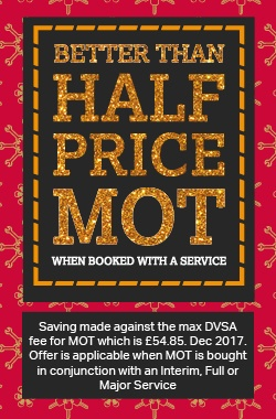 Better than half price MOT when booked with a service