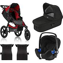 image of Britax Romer BABY-SAFE i-SIZE Car Seat with BOB REVOLUTION PRO Pushchair Travel System Bundle - Red