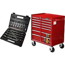 image of The Halfords 7 Drawer Cabinet and Professional Screwdriver & Bit Set Bundle