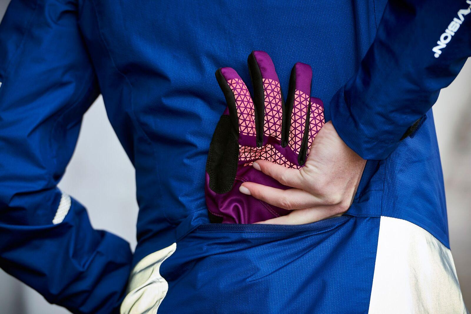 Gloves into a cycling pocket