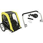 image of Halfords Double Buggy Child Bike Trailer and Stroller Accessory Kit Bundle