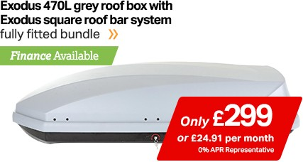 Exodus 470l grey roof box with Exodus square roof bar system only £299, finance available