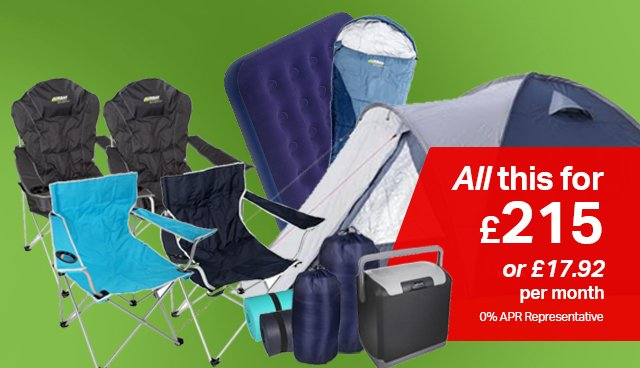 Fully fitted camping bundle, £215 or £17.91 per month