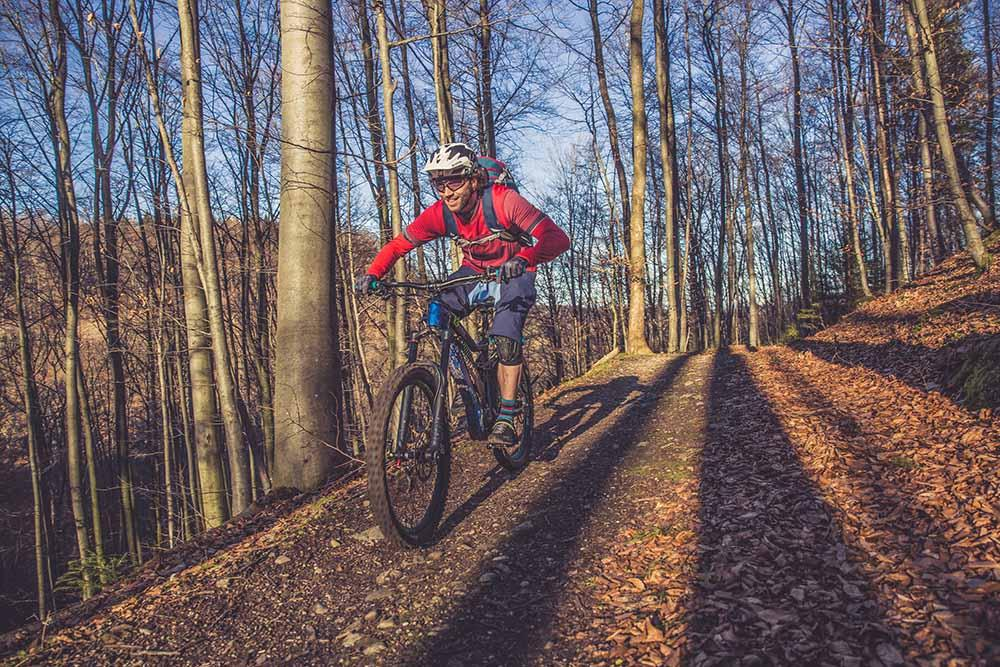 A ride tackles autumnal trails on an electric mountain bike