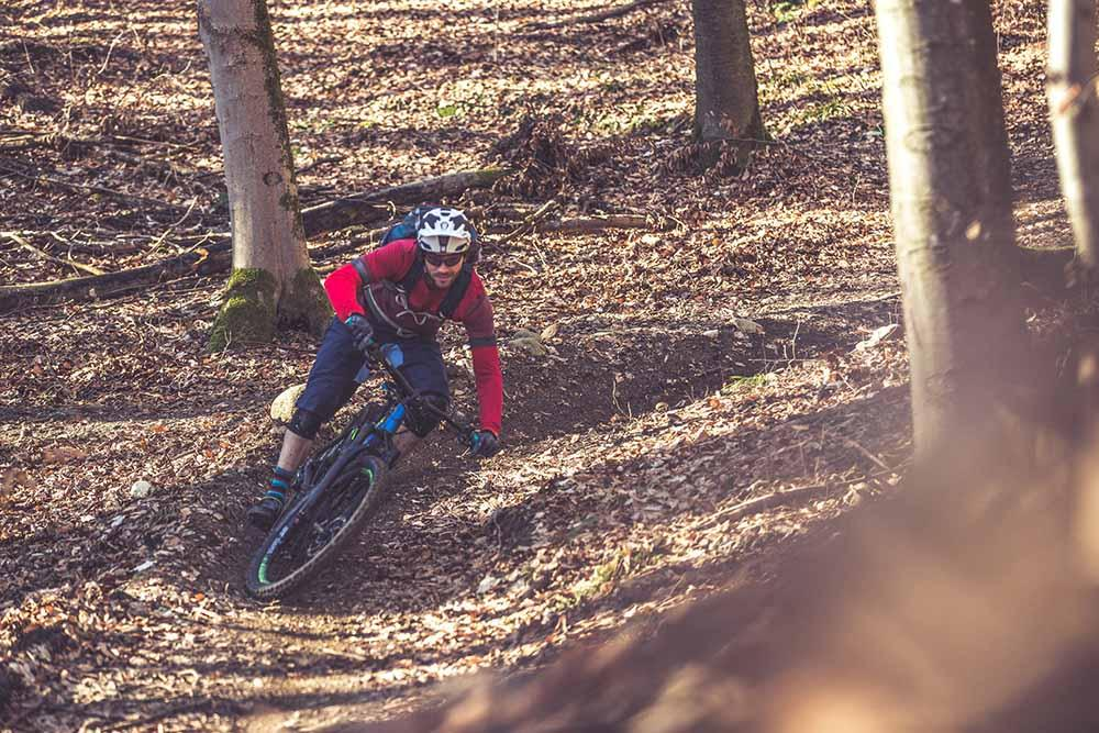 Tackling a turn on an electric mountain bike