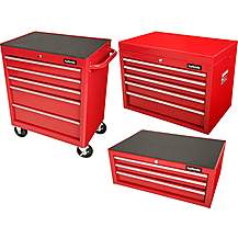 image of Halfords Tool Chest and Cabinet Bundle - Red