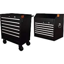 image of Halfords Advanced 6 Drawer Cabinet and top chest bundle - Black