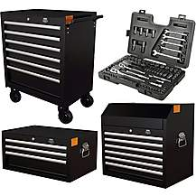 image of Halfords Advanced Tool Chest and Cabinet Bundle + Free Halfords 90 Piece Socket Set