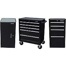 image of Halfords Side Cabinet Metal Storage Bundle Black