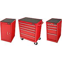 image of Halfords Side Cabinet Metal Storage Bundle Red