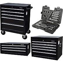 image of Halfords Tool Chest and Cabinet Bundle + Free Halfords 90 Piece Socket Set