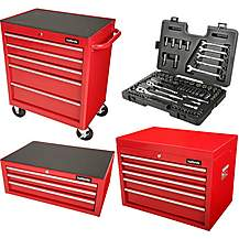 image of Halfords Tool Chest and Cabinet Bundle Red + Free Halfords 90 Piece Socket Set