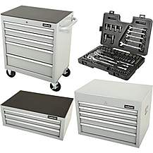 image of Halfords Tool Chest and Cabinet Bundle Silver + Free Halfords 90 Piece Socket Set