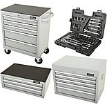 Halfords Tool Chest and Cabinet Bundle Silver + Free Halfords 90 Piece Socket Set