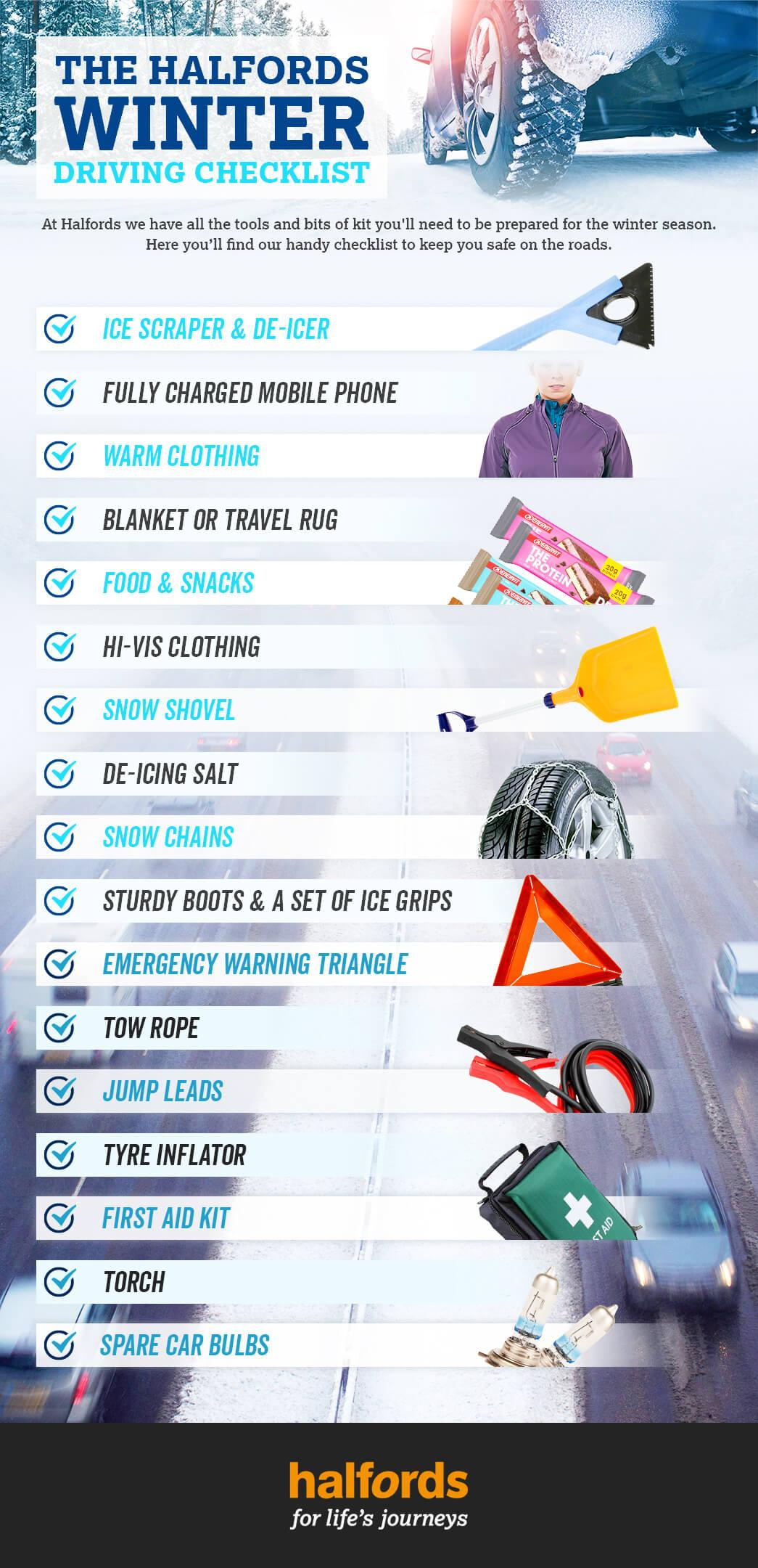 infographic showing items for a car needed during in winter