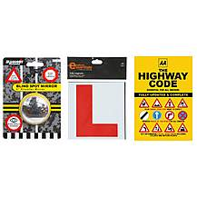 image of AA Highway Code, Halfords Learner Driver Plates & Blind Spot Car Mirror Bundle