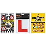 image of AA Highway Code, Halfords Learner Driver Plates & Blind Spot Car Mirror Bundle