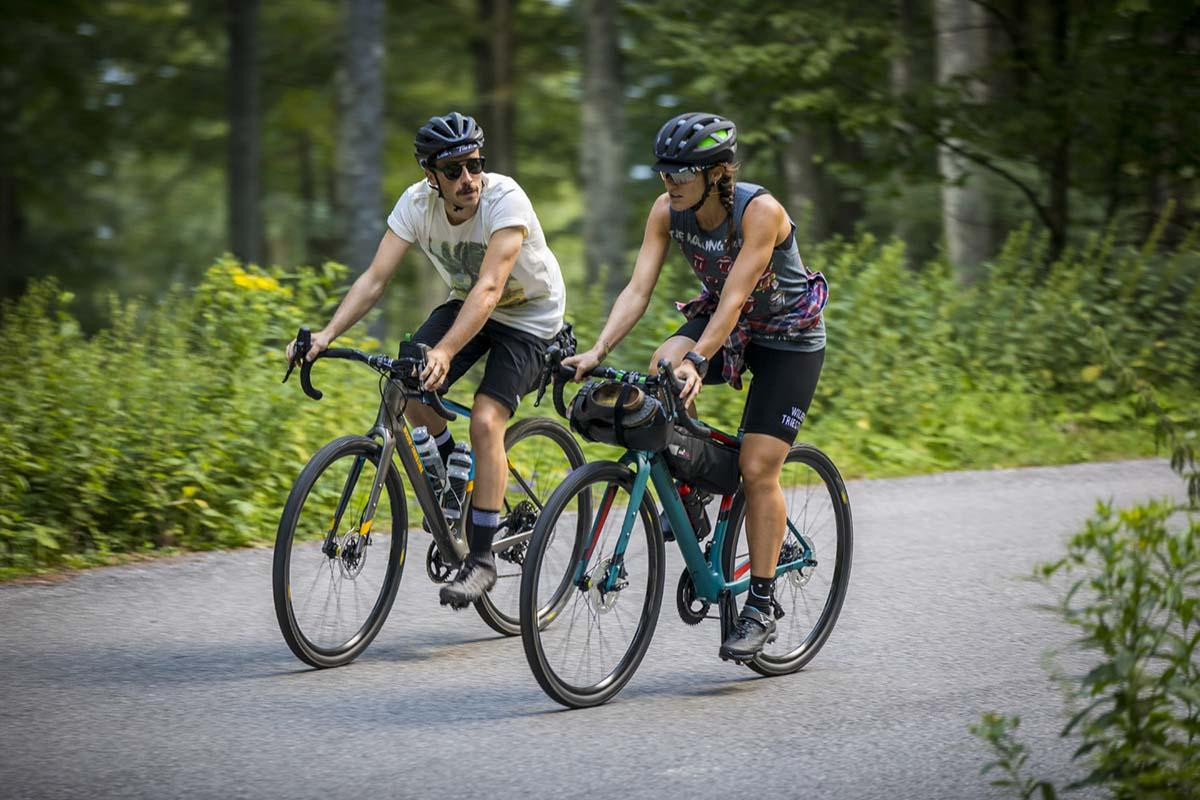 Two riders on Wilier gravel bikes